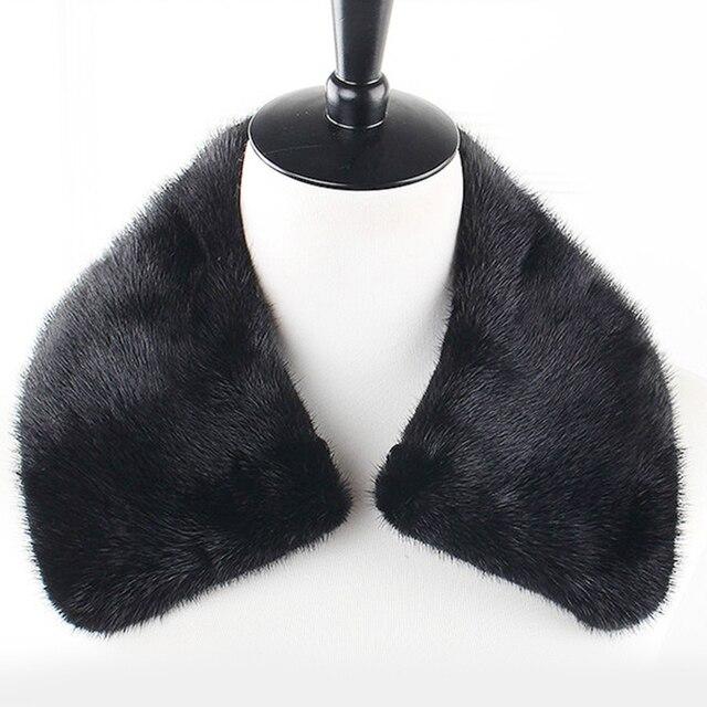 Мода норки воротник для мужчин женщины черный коричневый твердые мягкая теплая осень зима мужской женский шарф шали