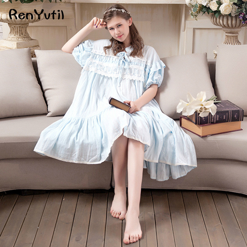 RenYvtil Womens Valentines Gift Victorian Martha Vintage Nightgown Lightweight Cotton Nightshirt Flounced Sleepwear layer skirt