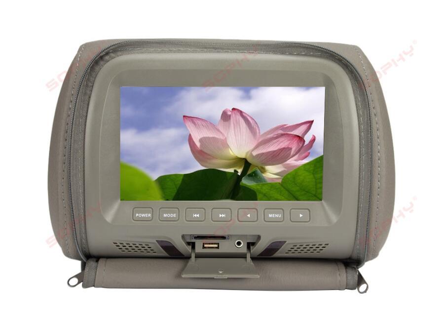 7 дюймов Автомобильный подголовник экран монитор с застежкой-молнией крышка USB и SD Функция чтения - Цвет: Grey
