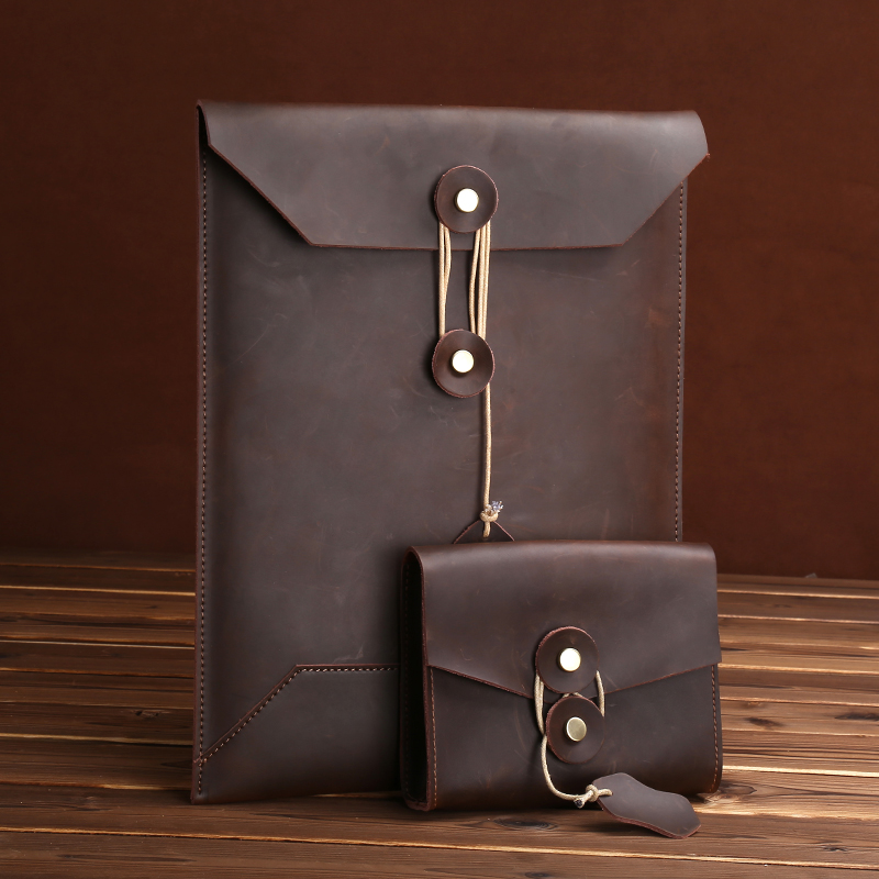 MacPro Storage Bag IPad Pro Business File Bag Briefcase Genuine Leather Inner Jacket 13  / 15 Inch Notebook Tablet Protector Bag
