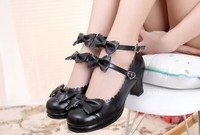 2016 New Japanese Harajuku Low Chunky Heels Sweet Round Toe Bowtie Princess Lolita Shoes Kawaii School