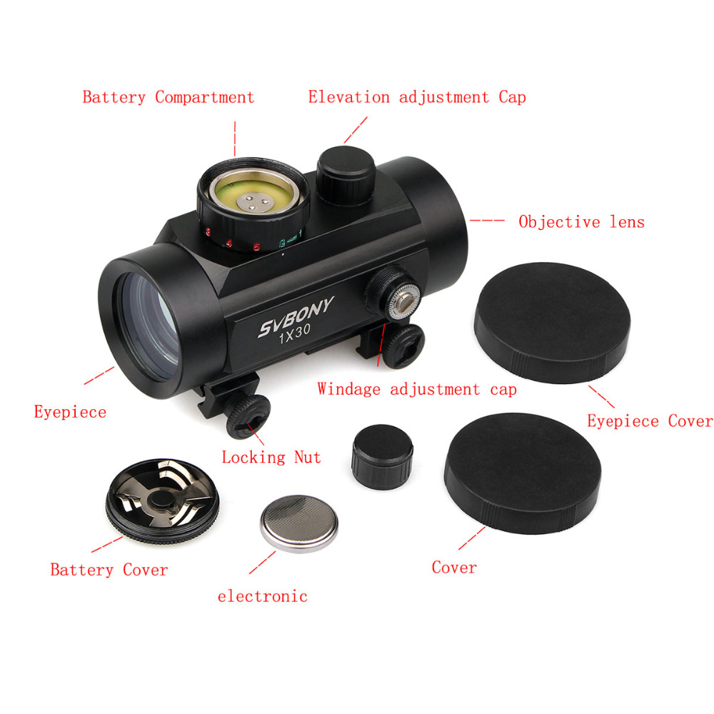 Image 3 - Svbony 1x30mm Sight Tactical Red Green Dot Riflescope Five Brightness Setting Reflex Sight Scope w/ 20mm Rail Mount F9148A-in Riflescopes from Sports & Entertainment