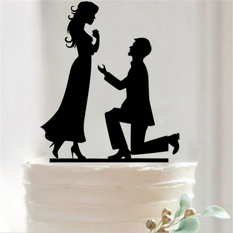 Black Acrylic Bride And Groom Wedding Cake Topper With Dog Stand Decoration Mariage Decorating Party Supplies