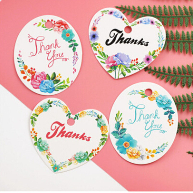 50 Pcs Heart Shape Thank You Diy Scrap Paper Baking Package