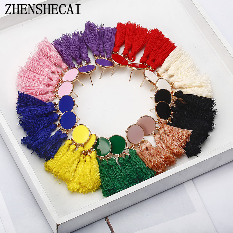 Bohemia Statement Tassel Earrings Gold Color Round Drop Earrings for Women Wedding Long Fringed Earrings Jewelry Gift e0343(China)