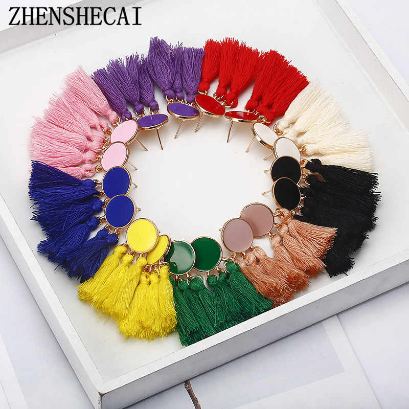 Bohemia Statement Tassel Earrings Gold Color Round Drop Earrings for Women Wedding Long Fringed Earrings Jewelry Gift e0343