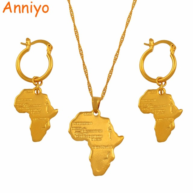 Anniyo African Map Jewelry sets Necklace Earrings for Women Girls Gold Color Eth