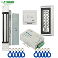 RAYKUBE Eléctrica Kit Sistema de Control de Acceso Cerradura Magnética 180 KG/280 KG + FRID de Metal Teclado Puerta De Seguridad