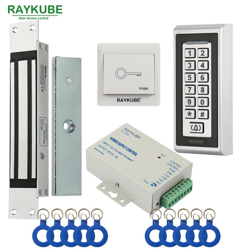RAYKUBE Elektrisk magnetisk lås Adgangskontrolsystem sæt 180KG / 280KG + Metal FRID Tastatur Sikkerhedsdør