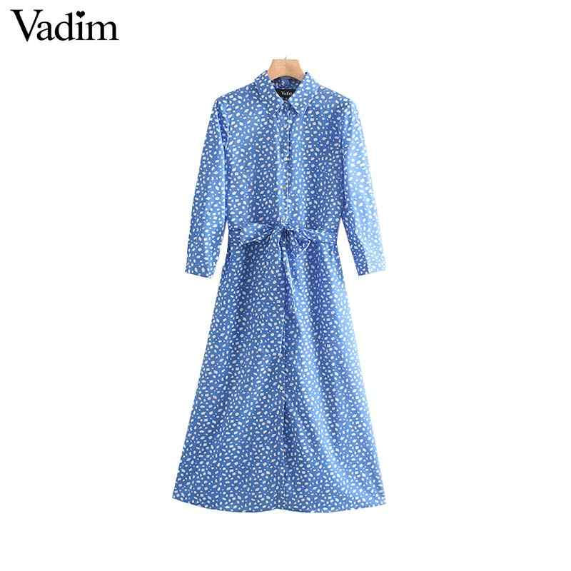 Vadim women casual print midi dress bow tie sashes long sleeve female summer vintage Chic A line mid calf dresses vestidos QC382