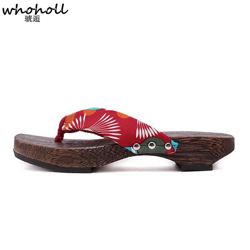WHOHOLL Women Slippers Special Japanese kimono Wooden Clogs Ladies Geta Flat Platform Sandals Cosplay Costumes Flip flops in Shoes from Novelty Special Use