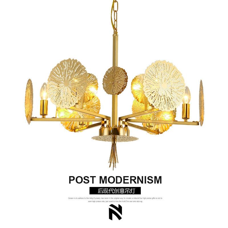 Post-modern golden LED chandelier living study room luxury lighting restaurant hanging lamp bedroom Decorative fixtures