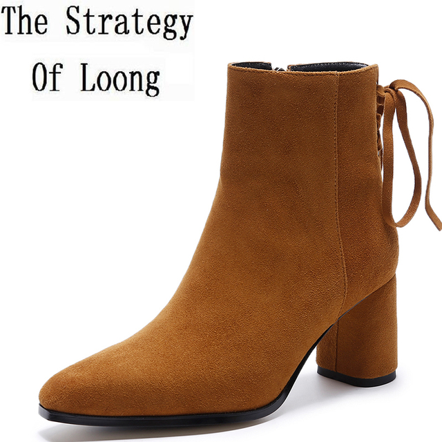 0846db583d989 Spring Autumn Genuine Leather Square Toe Lace Up Women Short Boots Zipper Square  Heels Cross-Tied High Top Ankle Boots ZY170917