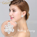 Free Shipping Crystal Flower Wedding Bride Crystal Clip Earrings for Wedding