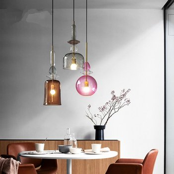 24 In Led Light Bar | LED Colorful Single-headed Pendant Lights Nordic Creative Living Room Bar Bedroom Pendant Lamp Restaurant Glass Lighting Fixture