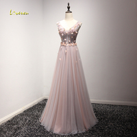 Loverxu New Glamorous Lace Appliques V Neck Long Evening Dress 2017 Delicate Beaded Sleeveless Formal Party