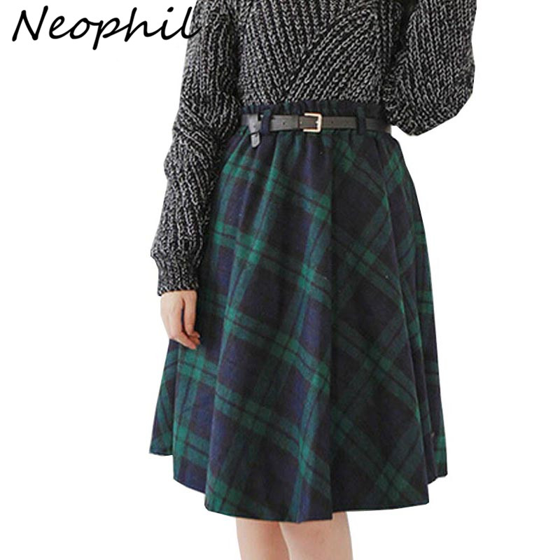 Neophil 2019 Winter High Waist Wool Plaid School Pleated Midi Skirts Womens England Style Skater Woolen Tartan Tutu Saias S1736