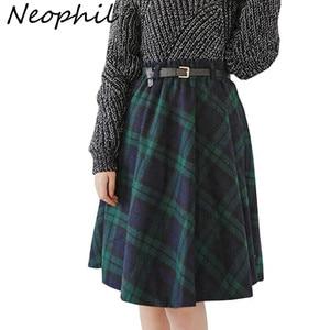 Image 1 - Neophil 2019 Winter High Waist Wool Plaid School Pleated Midi Skirts Womens England Style Skater Woolen Tartan Tutu Saias S1736