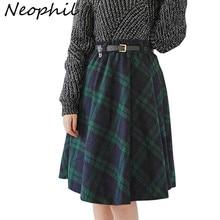 Neophil 2019 Winter Hohe Taille Wolle Plaid Schule Plissee Midi Röcke Frauen England Stil Skater Woolen Tartan Tutu Saias S1736