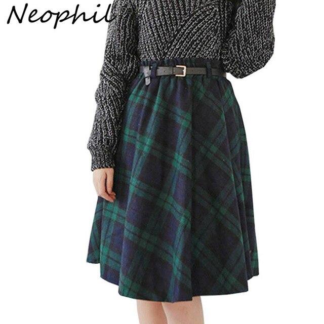 Neophil 2019 Зимняя шерстяная клетчатая школьная плиссированная юбка средней длины с высокой талией Женская шерстяная юбка пачка в английском стиле Saias S1736