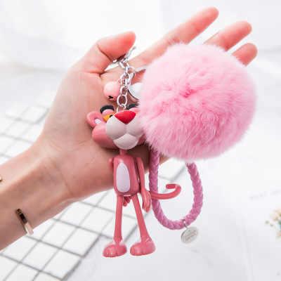 Rosa pantera fortuna gato chaveiro chaveiro anel corrente rosa leopardo gato sorte pulso fofo chaveiro pompom pele bola sinos pompom pompom