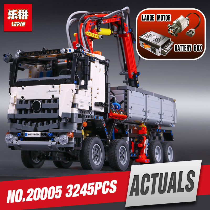 DHL LEPIN 20005 technic series  Arocs Model Building blocks Bricks Compatible with legoing 42023 Toy model for Children as gift hot 378pcs technic motorcycle exploiture model harley vehicle building bricks block set toy gift compatible with legoe