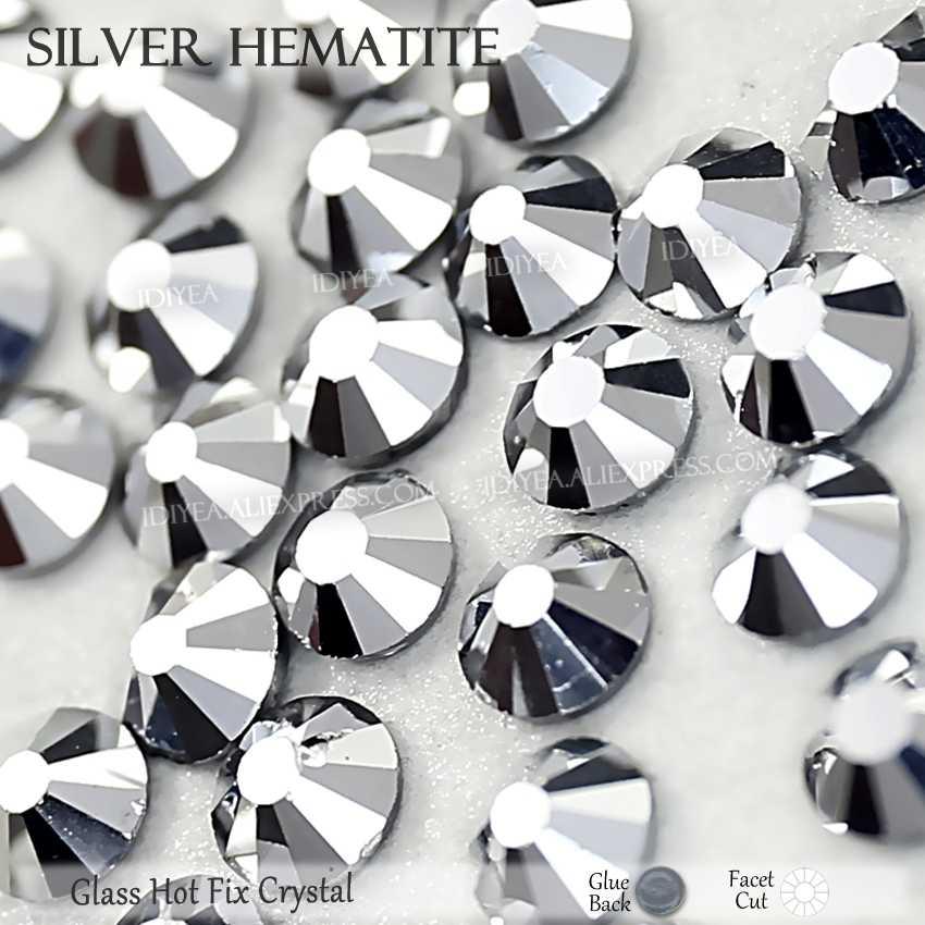 Gümüş hematit sıcak düzeltme flatback taklidi elbise sanat glitter kristal düzeltme strass taş konfeksiyon giyim köpüklü payetler