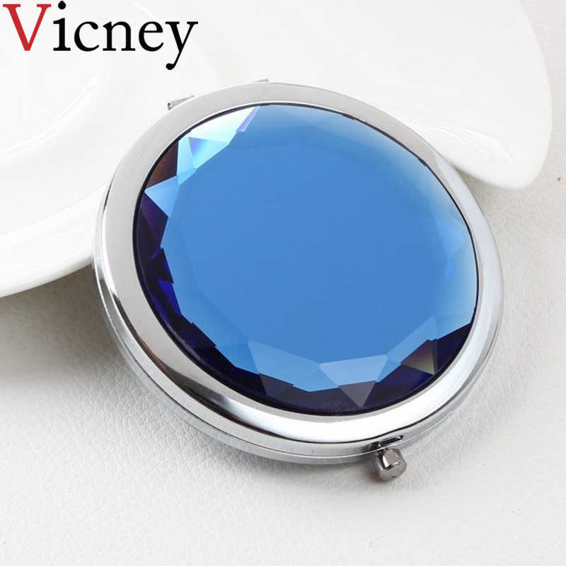 Vicney Women Cute elegant Makeup Mirror Portable Pocket Crystal Mirrors Double Dual Sides Compact magnifier Mirrors gift