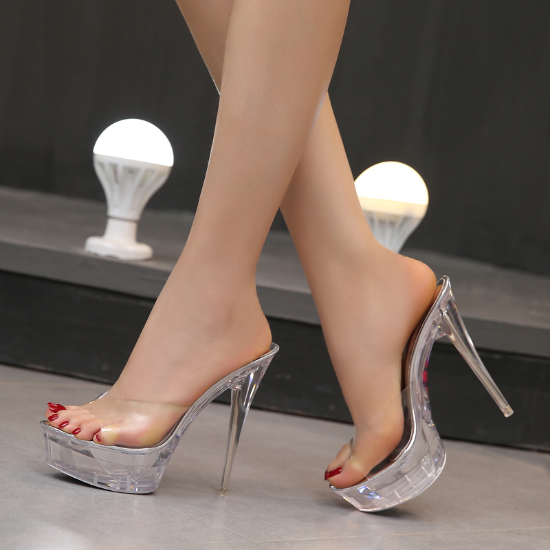 Steel Tube Dancing Shoes Women Sandals 2017 Crystal Slipper Ultra High Heels  14cm Transparent Waterproof Cool Slippers Fine with-in Slippers from Shoes  on ... 2287feb1d968
