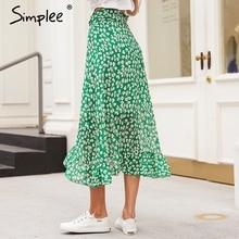 Simplee Ruffle leaf print wrap skirt women Sash tie up beach summer skirt asymmetric 2018 High waist streetwear long skirt femme