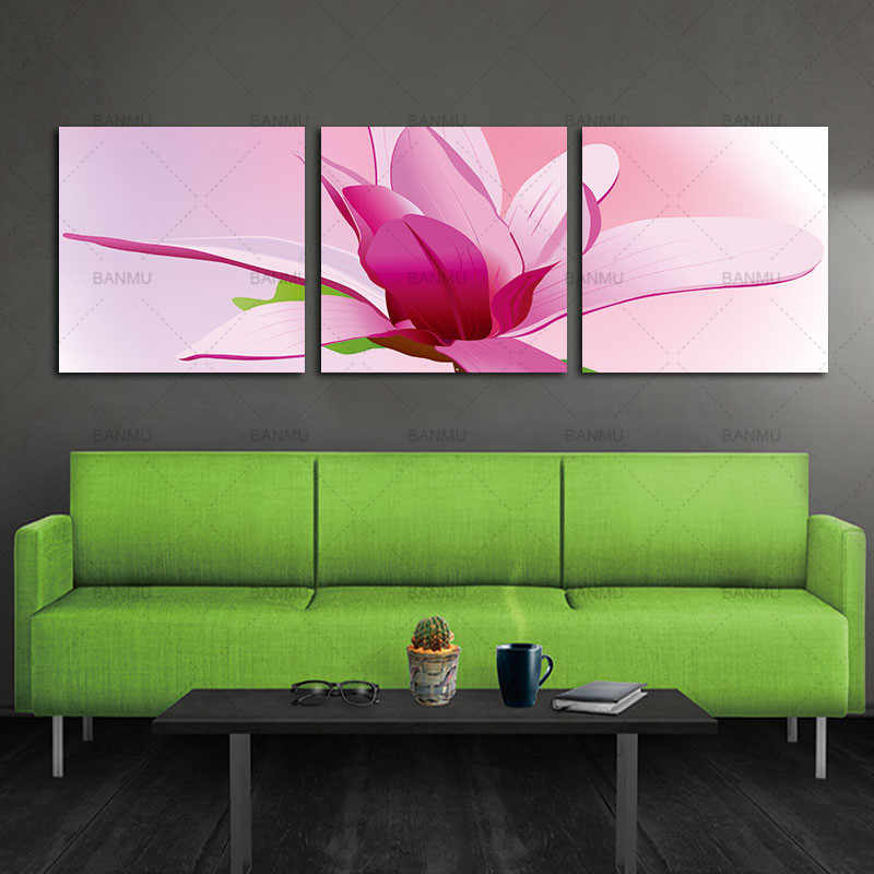 Print poster canvas  painting Wall Art pink orchids 3pcs  Decoration art oil painting Modular pictures on the wall sitting room