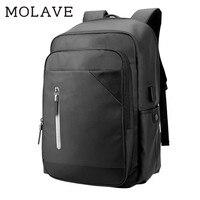 MOLAVE Backpack Backpack Men Solid Laptop Schoolbags Zipper Multifunction Usb Charging Men Waterproof Bag Backpacks Jan9