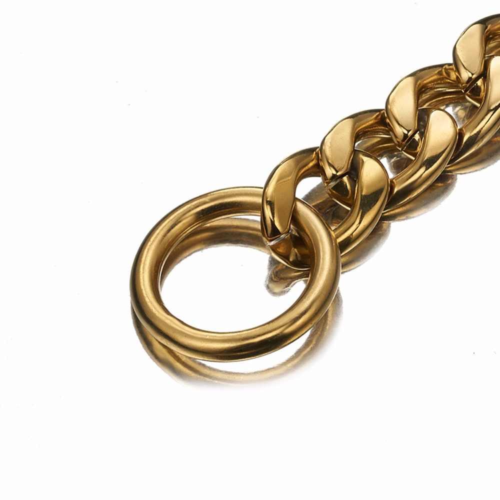 Granny Chic thời trang 11/13/15/19 mét rộng 12-36 inch Bạc Vàng Tone Curb Chain cuba liên kết 316L Thép Không Gỉ Chuỗi Con Chó Cổ Áo Đồ Trang Sức