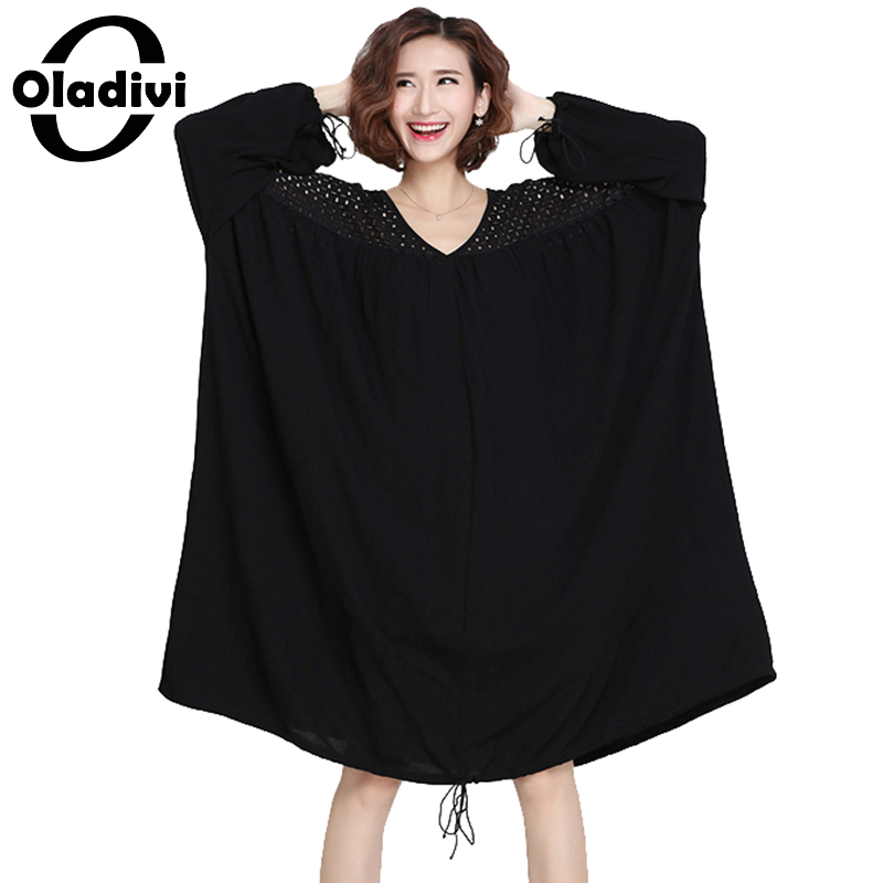 008d9dece85 Oladivi Plus Size Clothing Women See Through Lace Dress Casual Loose Dresses  New Fashion Lady Long Tops Shirt Tunic 10XL 9XL 8XL