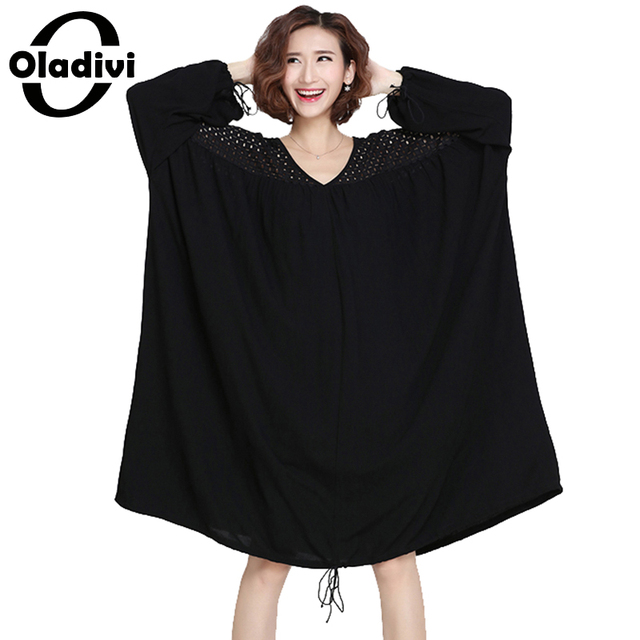 Oladivi Plus Size Clothing Women See Through Lace Dress Casual Loose