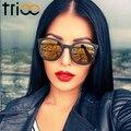 Trioo lente polarizada espelho óculos de sol para as mulheres marca de luxo cor clássico designer shades oculos moda óculos de sol feminino