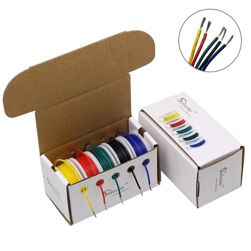 18 20 22 24 26 28 awg ul 1007 caixa de mistura de 5 cores 1/box 2 fio e cabo fio de cobre estanhado fio de estrangulamento diy