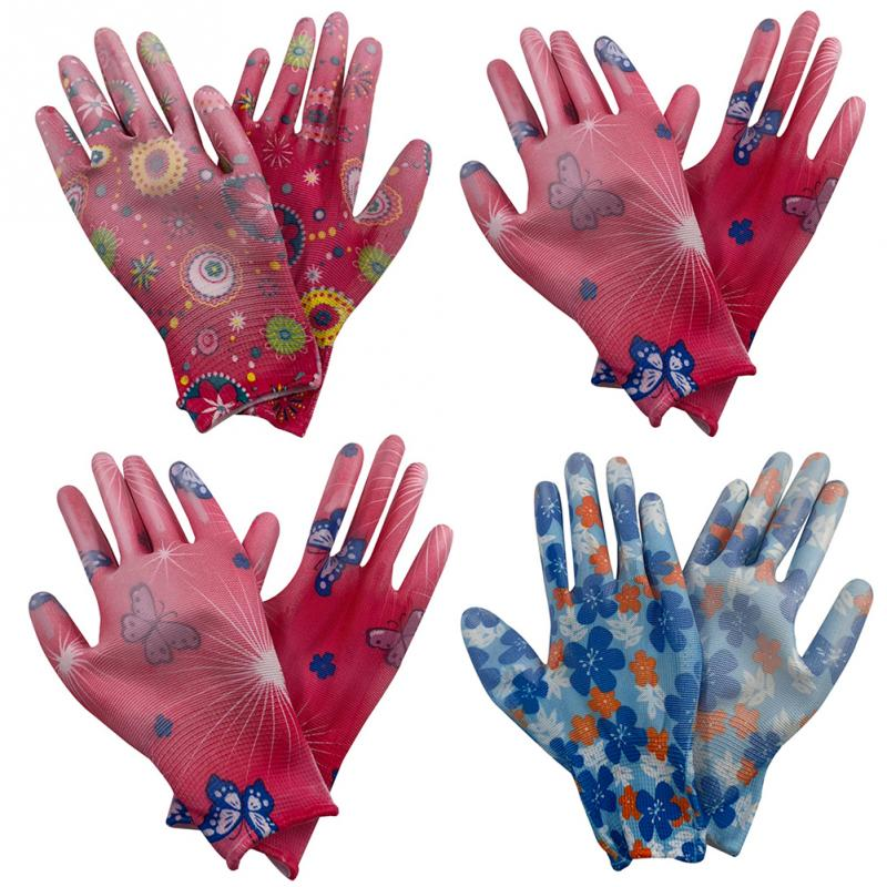 Women Gloves Ladies Floral Wear Resistant Hands Protection Waterproof Working PU Glove Female Working Golves S/M Random Color