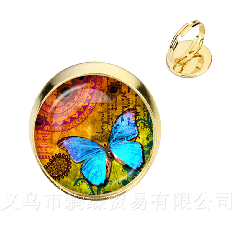 Original 2018 Summer Style Rings Vintage Silver/golder Plated 2 Color Fashion Butterfly Glass Cabochon Adjustable Rings For Women Shrink-Proof Bracelets & Bangles