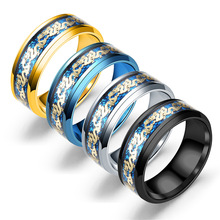 Black Dragon Tungsten Carbide Titanium Steel Ring Wedding Rings Stainless Blue for Men Women Jewelry