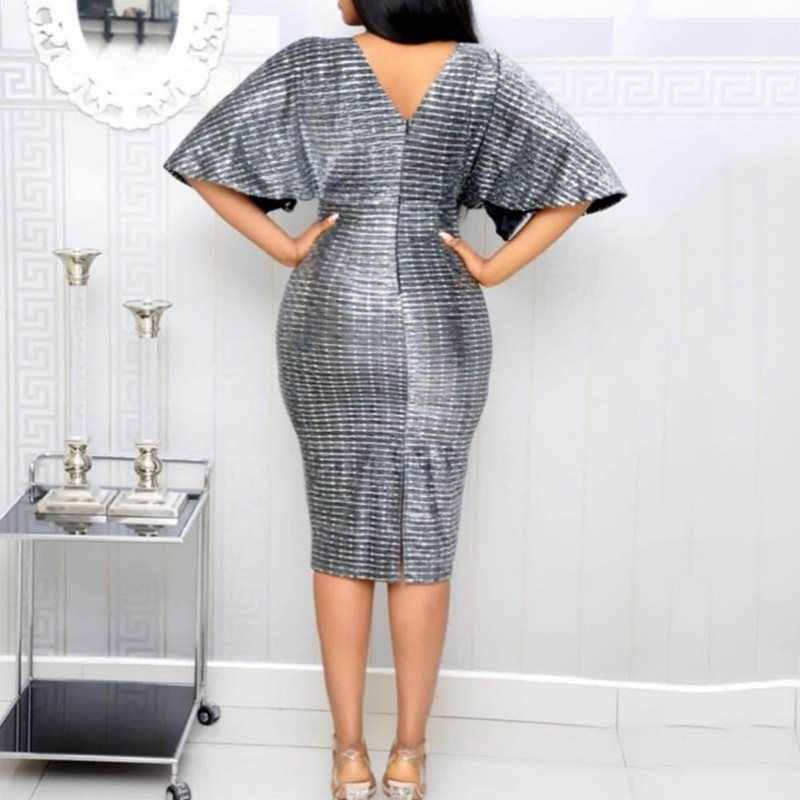 2019 Nova Lantejoulas Partido Bodycon Vestido Mulheres V Neck Sexy Clubwear Cintura Alta Magro Verão Escritório Ladies Cinza Elegante Midi vestidos