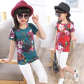 Kids t-shirt Summer 2016 for girl costumes flowers print t shirt Roupas infantis menina vetement enfant cotton girls clothes top