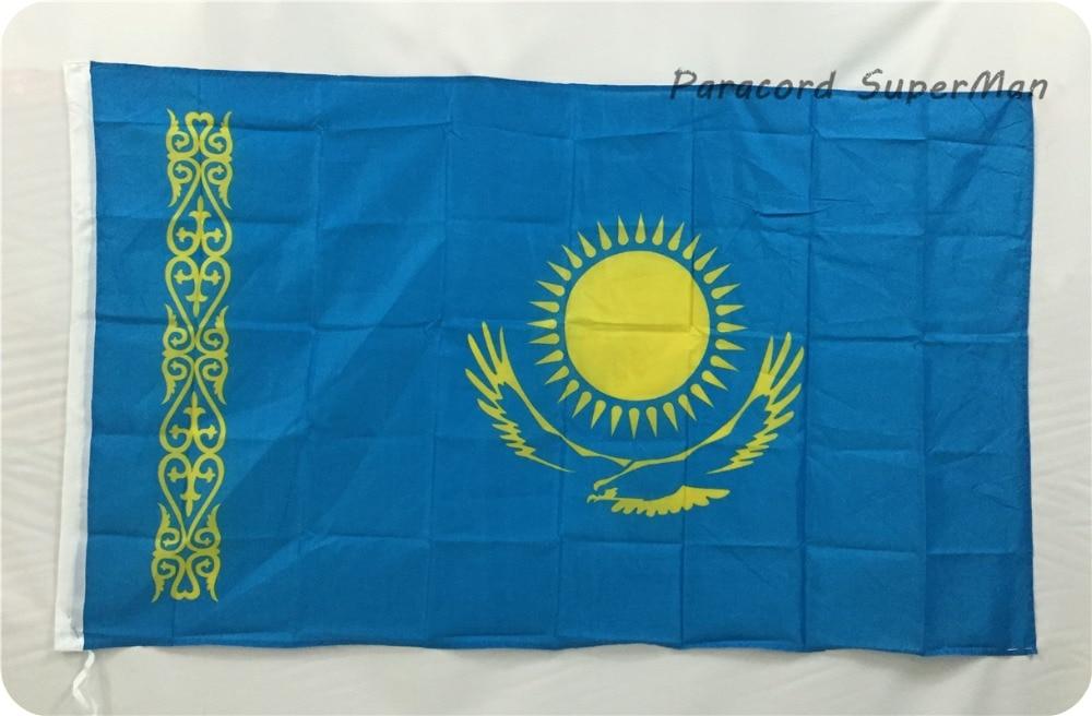 카자흐스탄 국기 KAZ 배너 3 피트 x 5 피트 매달려 플래그 폴리 에스테르 카자흐스탄 국기 배너 150x90 센치 메터 축하 큰 플래그