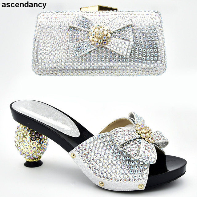 Latest Luxury Shoes Women 2019 Italian Shoes with Matching Bags Set Decorated with Rhinestone Summer High Heeled Shoes for Women