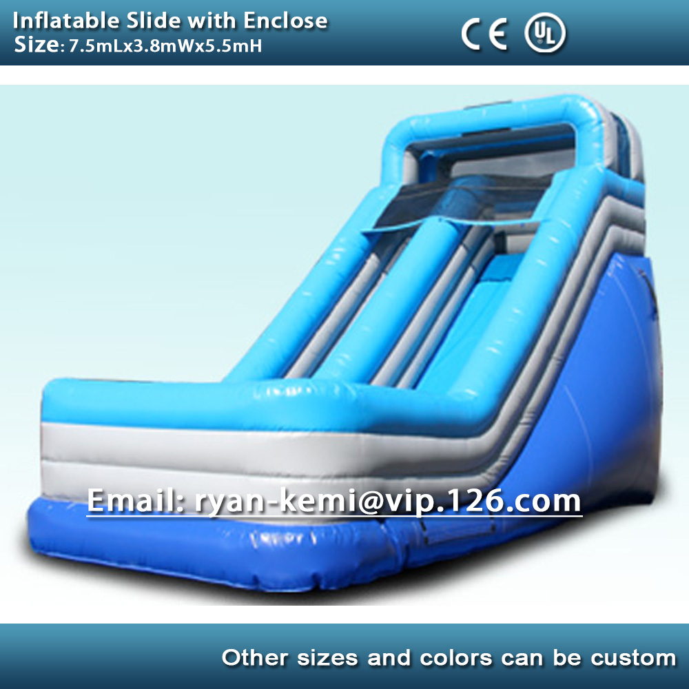 Inflatable slide PVC inflatable game commercial grade inflatable slide for kids adults with enclose with blower commercial grade inflatable water game park inflatables double slide with pool for kids and adult on sale