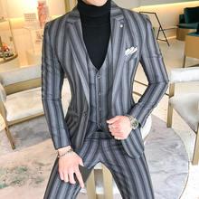 (Куртки + жилет брюки) новый мужской деловой пиджак для жениха