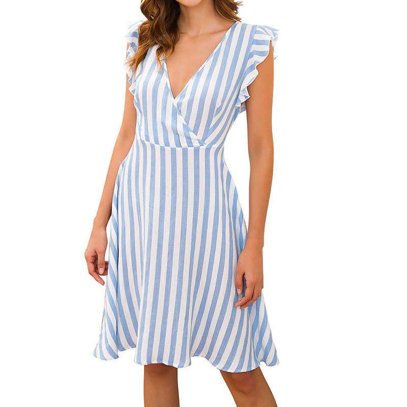 Женское платье женские пляжные летние трапециевидной формы Повседневное V образным вырезом Вечерние платья без рукавов в богемном стиле винтажная юбка с длиной до колена в полоску пикантная обувь в стиле ретро