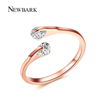 NEWBARK 0.25ct Open Rings Double Round CZ Crystal Stone Tension Setting Rose Gold & Silver Color for Girls Women Eternity Ring