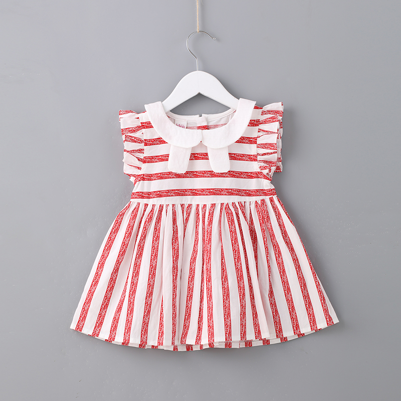 2018 Summer Cute Girls Clothing for Toddler Girl Striped Peter Pan Collar Baby Dress for 2 Year Toddler Girl for Party Red Color