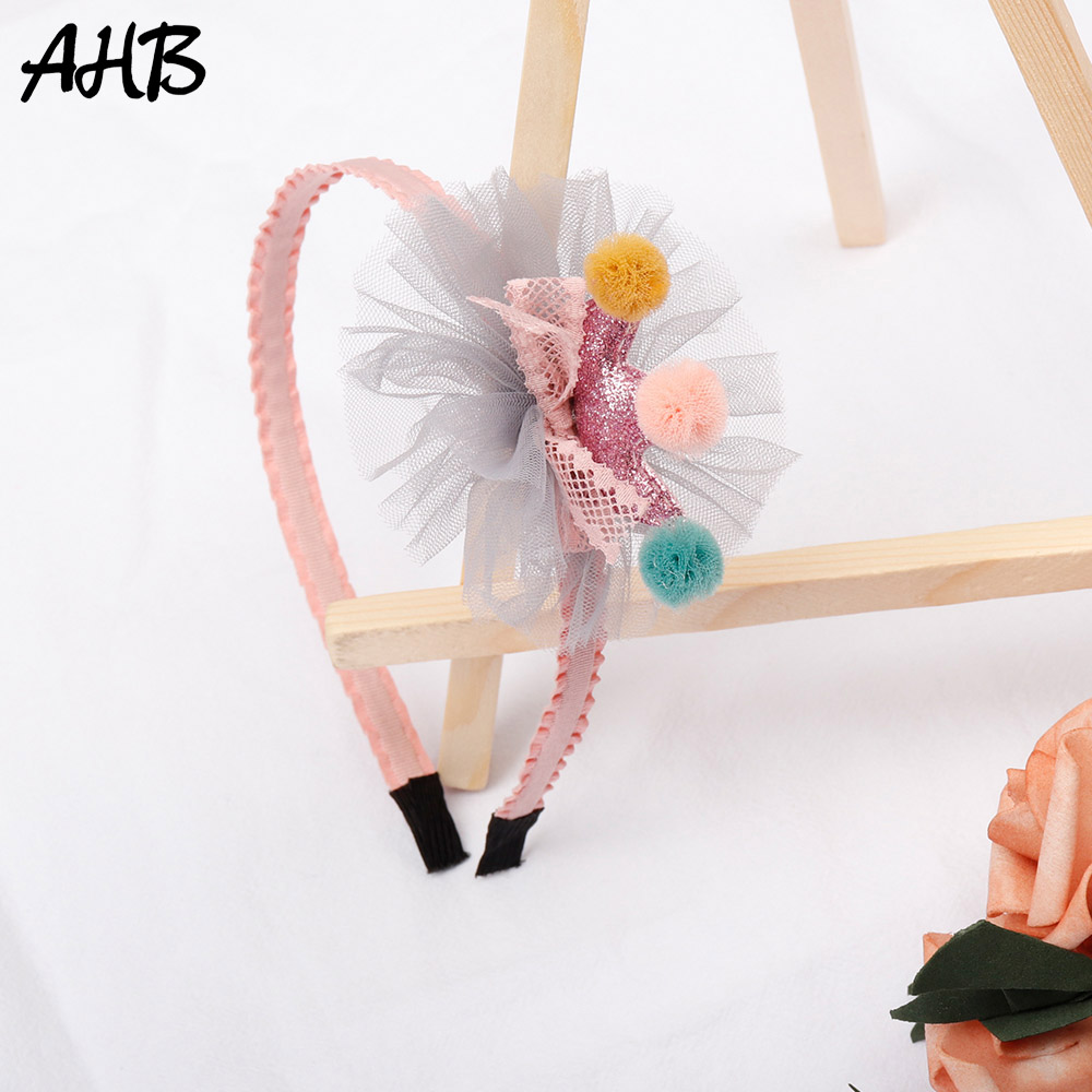 AHB Princess Glitter Crown Hairband for Girls Cute Pompom Headband Handmade Hair Band Hoop Fashion Kids Party Headwear